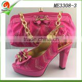 2016 women high quality fashion shoes and hand bags set ladies high heel shoes in fushia