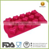 15 Cavity Heart Mould Silicone Ice Tray, Silicone Baby Food Freezer Tray