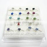 Color Crystal Flower Shaped 925 Sterling Silver Nose Ring Nose Piercing Body Jewelry