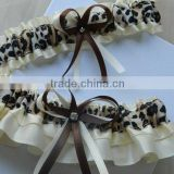 Sexy Leopard Garter Set,Ivory Ribbon Printed Garter For Girls