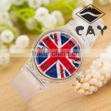 Stock!Wholesale Cheap Hot Sale Sports Watch Simple Design Good Christmas Birthday Gift British Flag Plastic Wrist Watch