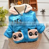 2015 factory outlet baby girl&boy thick fleece panda winter coat