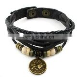 Handmade Genuine Real Leather Bracelet Sign Logo Charms Beads Button Adjustable Size Unisex