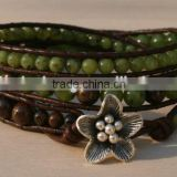 Jade, Sterling Silver, Triple Wrap Leather Beaded Bracelet. Semiprecious Green Jade Beads, Sterling Flower Button