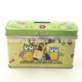 12.8*8.4*8.4CM Factory directly sales High quality rectangular coin metal tin box with locks