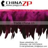 CHINAZP Feathers Manufactor Bulk Sale Dyed Fuchsia Rooster Schlappen Feathers Fringe Trim
