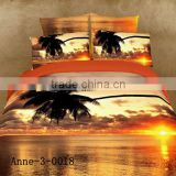 high quality 100% cotton reactive printed 3D effect scenery bed sheet set wholesale luxury