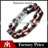 8.6 inch 316 L stainless steel red and black biker chain bracelet
