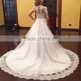 2016 Vestido De Noiva Princes Lace Bridal Gown Appliques Long Sleeve Puffy Wedding Dresses CWF2329