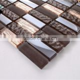 MB SMP16 Chinese Backsplash Design Living Room Wall Tile Brown Glass Tile Mosaic Rectangle