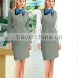 HOT selled good sewing ladies elegant airline suit uniform (with scarf)