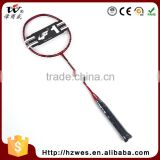 Logo Printed Unique Shape Super Durability Full Carbon Portable Playground Badminton Graphite Racquet With Ce