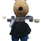 Plush Toy Bunny Rabbit Brown Black Pokey Dots Dress and Jeans with Handbag Plush Toy Stuffed Animal, Baby Kids Doll Gift