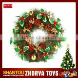 Hot sale Christmas wreath with PVC balls and flowers Christmas wreath frame flower wreath Christmas decoration toy with lights