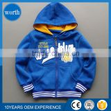 factory price handsome blue color full zip patterns hooded sweatshirt