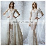 simple boat neck lace long sleeve corset wedding dress
