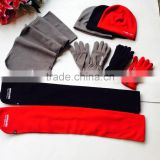 three red grey black colors ladies and mens polar fleece winter scarf hat gloves sets factory