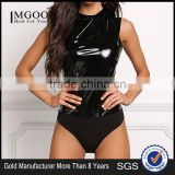 MGOO Fashion 2017 New Custom Black Patent Bodysuits Women Custom Black Pu Tops Sleeveless Sexy Latex Bodysuits