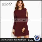 Burgundy Open Shoulder Swing Dress Cotton Polyester Blend Long Sleeve Casual Dress
