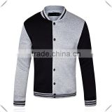 Grey/Black Contrsting Plain Mens Long Sleeve Hoodie Jacket New 2015 Classic Letter Baseball Uniform Slim Fit Hoodie Jacket OEM