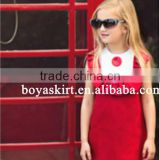 Kids Top Clothes Brands Sleeveless A-line Dress solid color European latest children dress designs red solid color girls dresses