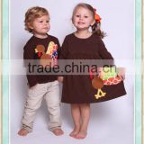boutique clothing thanksgiving day turkey boys t-shirt thanksgiving dress shirt set brother sister sibling set turkey applique