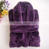 Chinese unisex thickness 100%polyester purple Coral Fleece Bathrobe