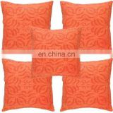 Orange indian Patchwork Cushion Cut Work Pillow Covers