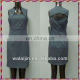 Simple and cute back hollow out design office lady tea dress