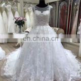chapel train round neck china custom made wedding dress