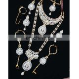 Semi Precious Indian Jewelary Gold Plated White Zerconic Bridal Rani Haar Earring TikaTika
