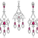 Fashion diamond jewelry set silver plated jewelry set