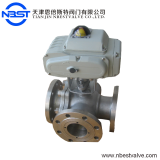 DN40 Motorized Stainless Steel Flange Three Way Ball Valve