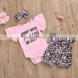 Short sleeve pink top matching leopard pattern shorts and headband 3pcs beautiful Baby Girl boutique summer suit