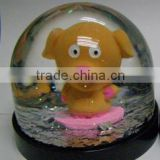 Snow Globe with Plastic Base and Polyresin Animals Figurine Inside