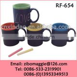 U Shaped Colored Slate Daily Use Porcelain Wholesale Beer Mug with Chalk