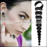 Black Steel Double Flare Tunnels Ear Plugs Earlets Gauges
