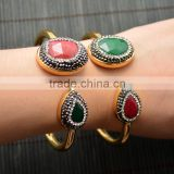 LFD-B0038 ~ Gold Plated Pave Rhinestone Crystal Agate Cuff Bangles Bracelets For Women Fashion Jewelry
