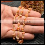 LFD-006C ~ Wholesale DIY Gold Plated Wire Wrapped Freeform Red Agate Chips Chain Gem stone Beaded Jewelry Handmade Finding