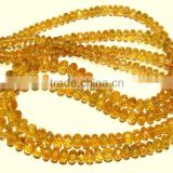 A Sample of Citrine Micro Faceted Roundlle Beads