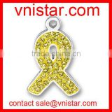 vnistar wholesale yellow citron crystal ribbon medical alert charm pendant TC186-7