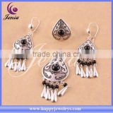 New trendy elegant jewelry set thai silver black agate indian costume jewellery (6308T3-1)