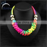 Fluorescent Color Cotton Rope Knot Handmade Knit Bib Choker Necklace