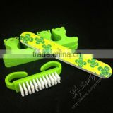 Toe separator,nail file,nail brush in manicure set