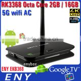 4K octa core smart tv box EKB368 RK3368 Mini PC Octa Core 16GB BT4.0 WiFi AC Smart TV Box Z4 I68 64BIT tv box