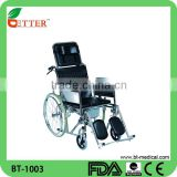 rehabilitation products steel reclining commode wheelchair