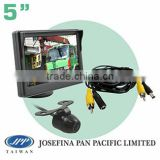 "5"" stand type car monitor back up butterfly reversing rear view camera kit system with parking line and 5M cable"