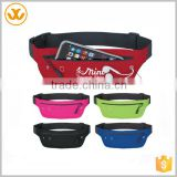 Customized logo printed waterproof safe lycra fanny belt/ running sport belt with phone holder