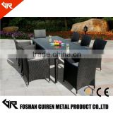 restaurant patio furniture 8 seater rattan chairs and wicker glass dining table