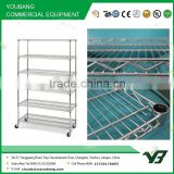2015 hot sell NSF 150KGS 72x24 inch 6 layer chrome hospital heavy duty wire shelving rack with wheels (YB-WS020)